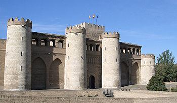 Vista del Palacio de La Aljafería en Zaragoza.