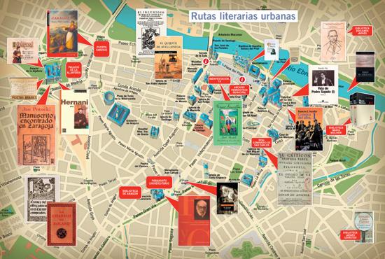 Plano con rutas literarias urbanas